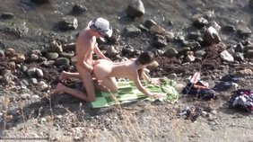 Supple nudist babe getting fucked hard on a beach