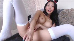 White stockings cute cosplaying Japanese girlfriend fucking her pussy
