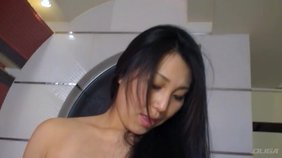 Salacious asian brunette is sitting down her pregnant ass on his laps