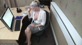 naive and pretty dum secretary is flashing her smoking hot boobs