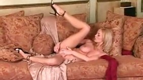 Amateur blonde wife showing off her perky tits and masturbating with a toy