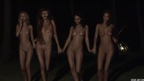 Four leggy teen girlfriends dancing around naked outdoors, in the night