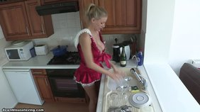Maid-like get-up blonde doing dishes and showing off her big breasts