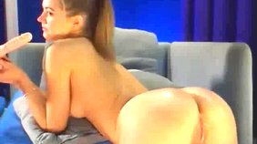 Ponytailed angelic teen girlfriend fucking her own ass with a big toy