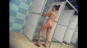 Leggy brunette showing her booty in the shower