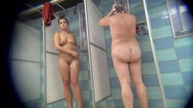 Naked chicks showering and looking seductive on cam
