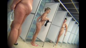 Blond-haired amateur showing her assets while recorded by a hidden cam