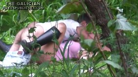 Leather boots girlfriend gets fucked hard with her ass in the grass