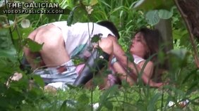 Intense outdoors sex in public featuring a leggy chick in leather boots